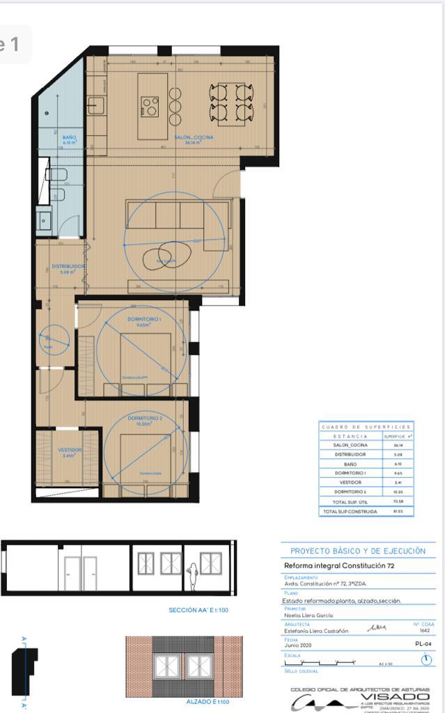 Piso en venta en gijon 2 habitaciones con vestidor